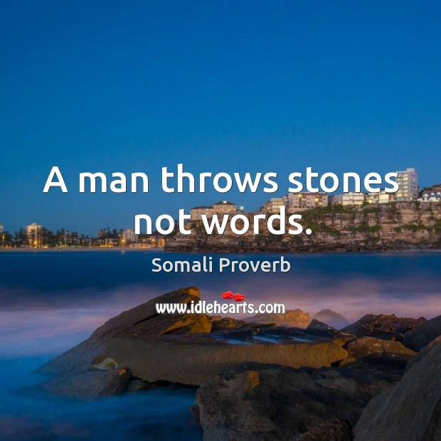 Image, A man throws stones not words.