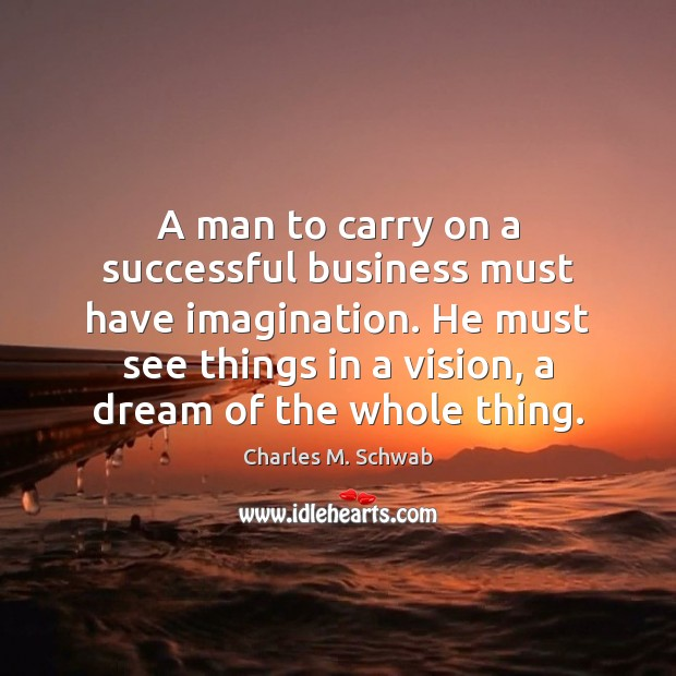 A man to carry on a successful business must have imagination. He Charles M. Schwab Picture Quote