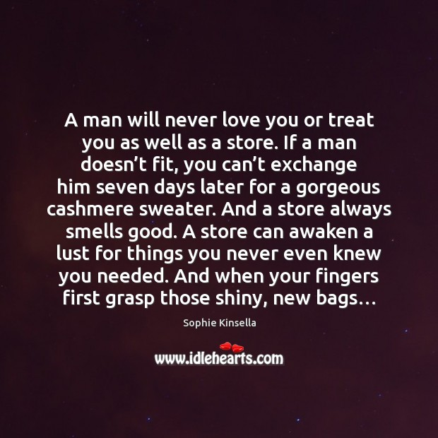 A man will never love you or treat you as well as Sophie Kinsella Picture Quote