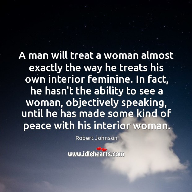 A man will treat a woman almost exactly the way he treats Image