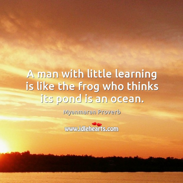 A man with little learning is like the frog who thinks its pond is an ocean. Myanmaran Proverbs Image