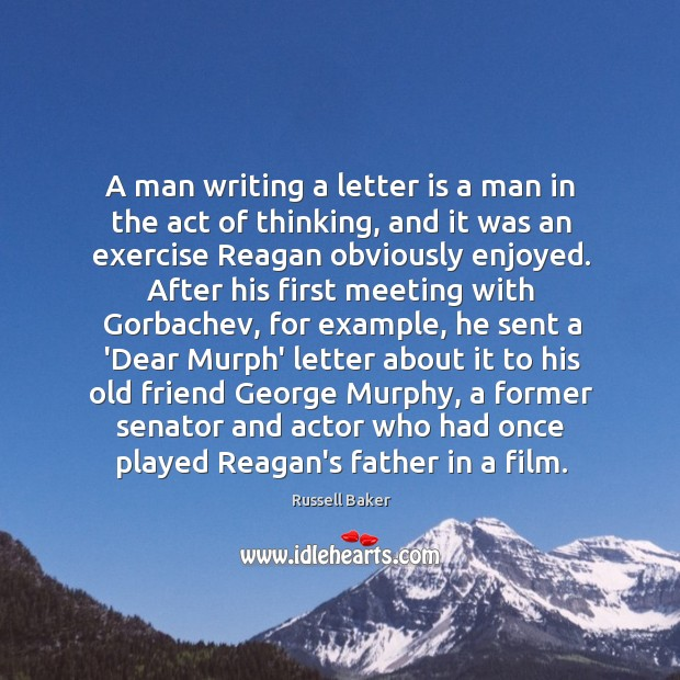A man writing a letter is a man in the act of Image