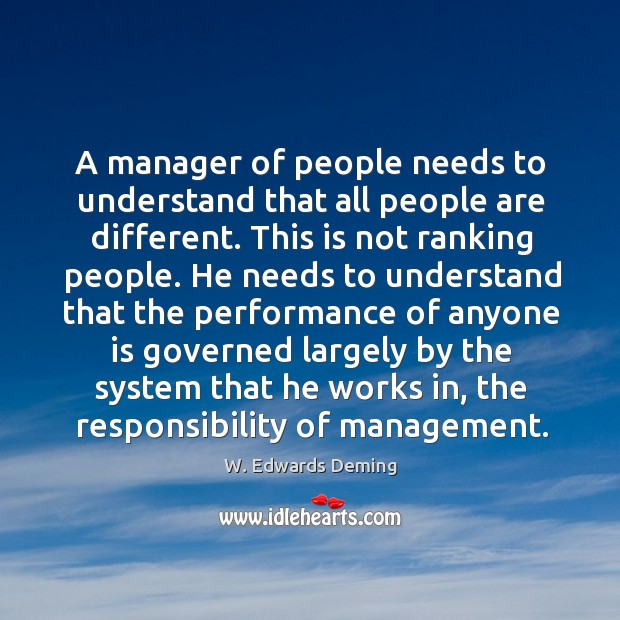 A manager of people needs to understand that all people are different. Image
