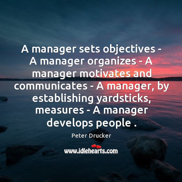 A manager sets objectives – A manager organizes – A manager motivates Image