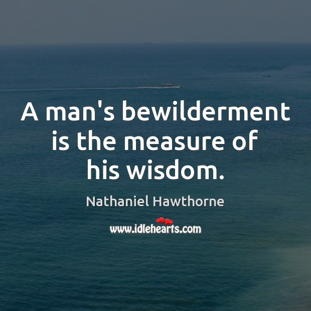 A man's bewilderment is the measure of his wisdom. Image