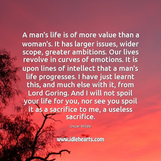 Image, A man's life is of more value than a woman's. It has