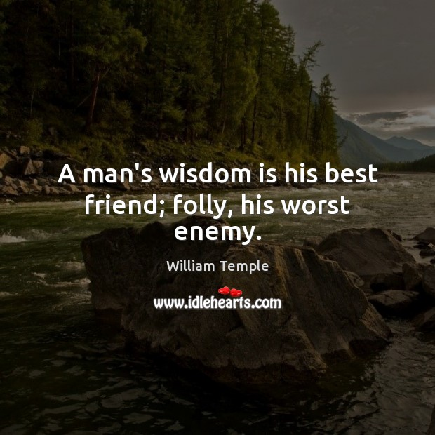 A man's wisdom is his best friend; folly, his worst enemy. Image