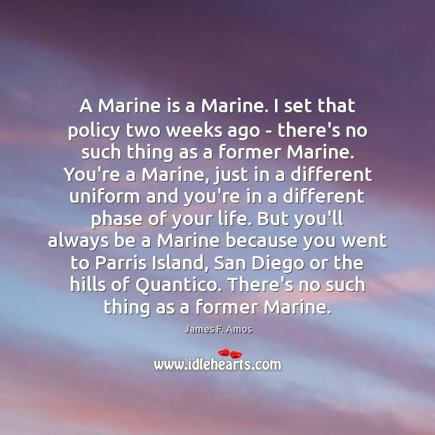 Image, A Marine is a Marine. I set that policy two weeks ago