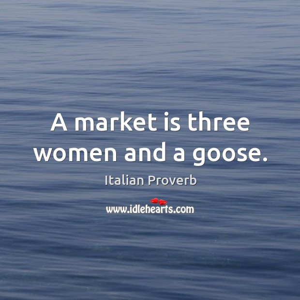 Image, A market is three women and a goose.