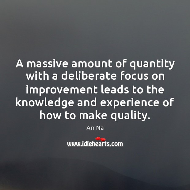 Image, A massive amount of quantity with a deliberate focus on improvement leads