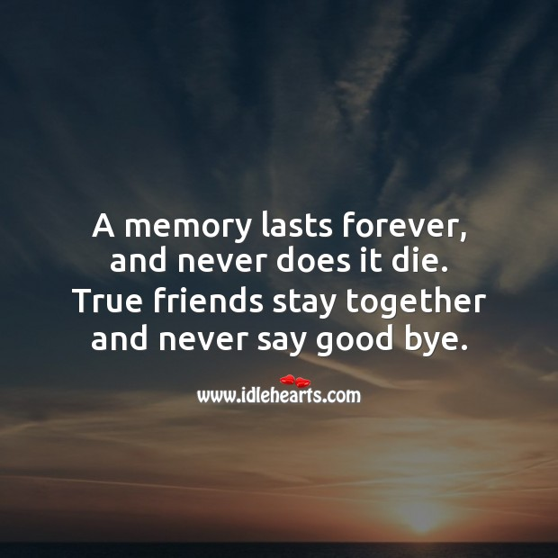 A memory lasts forever, and never does it die. Friendship Messages Image