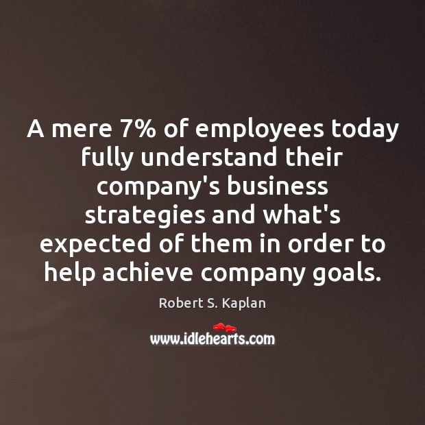 A mere 7% of employees today fully understand their company's business strategies and Image