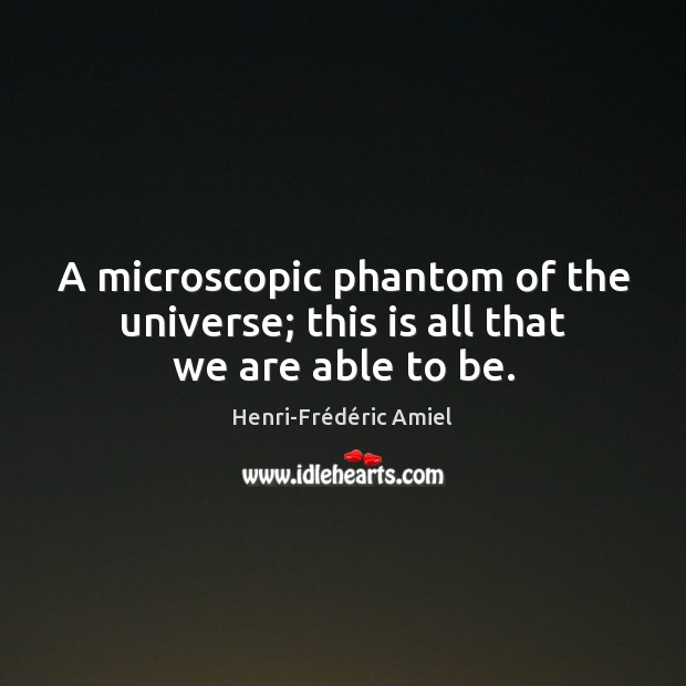 A microscopic phantom of the universe; this is all that we are able to be. Henri-Frédéric Amiel Picture Quote