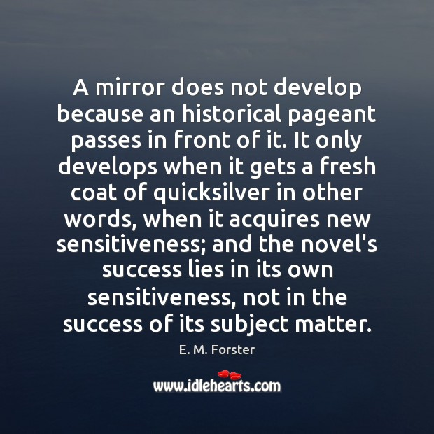 Image, A mirror does not develop because an historical pageant passes in front