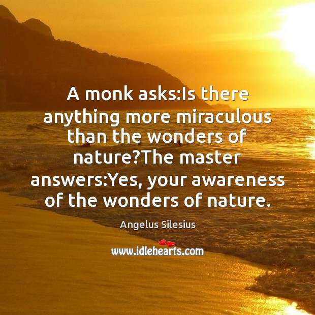 Image, A monk asks:Is there anything more miraculous than the wonders of