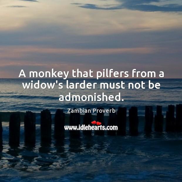 A monkey that pilfers from a widow's larder must not be admonished. Zambian Proverbs Image