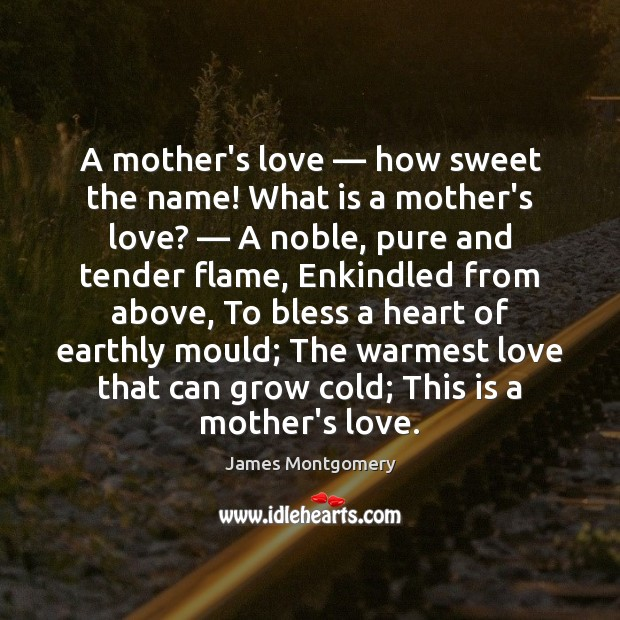 A mother's love — how sweet the name! What is a mother's love? — Image