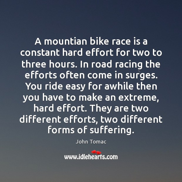 A mountian bike race is a constant hard effort for two to Image