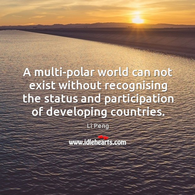 A multi-polar world can not exist without recognising the status and participation of developing countries. Image