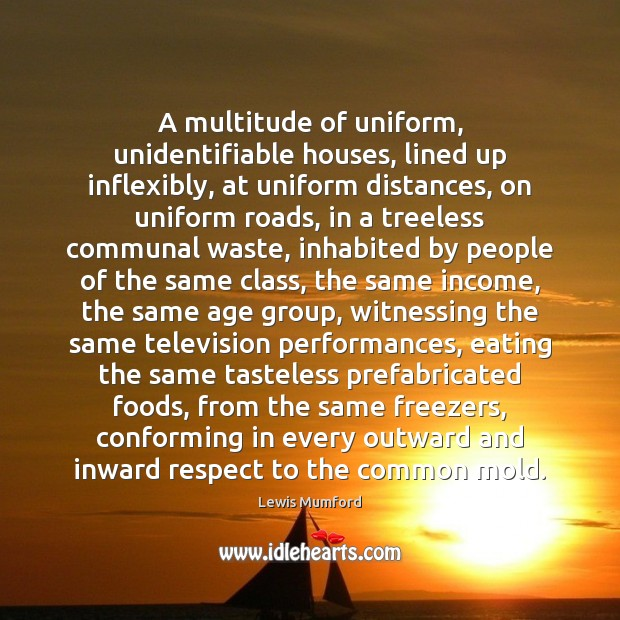 A multitude of uniform, unidentifiable houses, lined up inflexibly, at uniform distances, Lewis Mumford Picture Quote