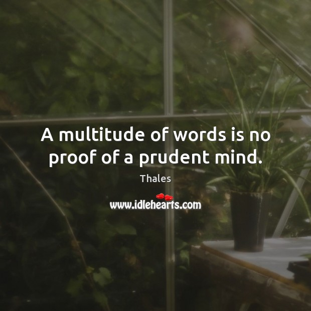 A multitude of words is no proof of a prudent mind. Image