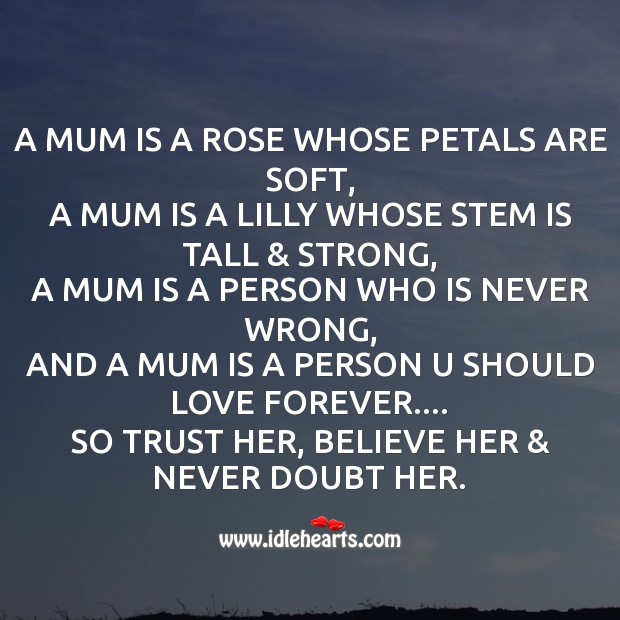 A mum is a rose whose petals are soft Mother's Day Messages Image