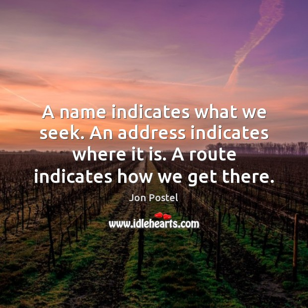A name indicates what we seek. An address indicates where it is. Image