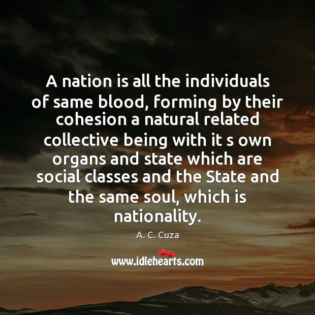 A nation is all the individuals of same blood, forming by their Image