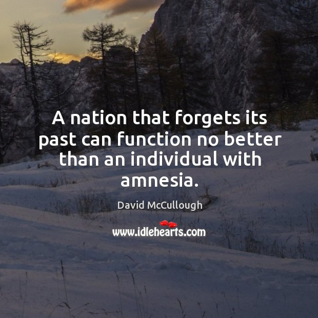 A nation that forgets its past can function no better than an individual with amnesia. Image