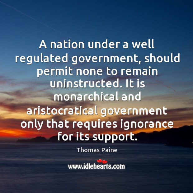 Image, A nation under a well regulated government, should permit none to remain