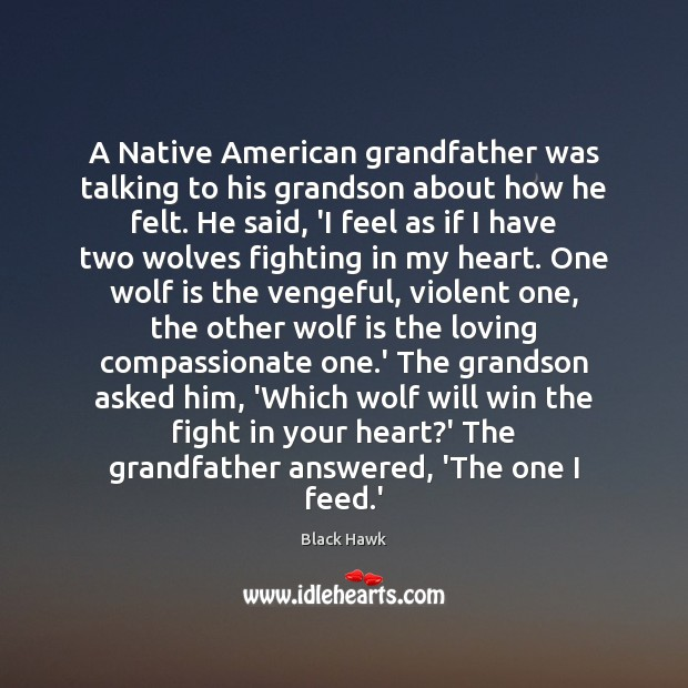 Image, A Native American grandfather was talking to his grandson about how he