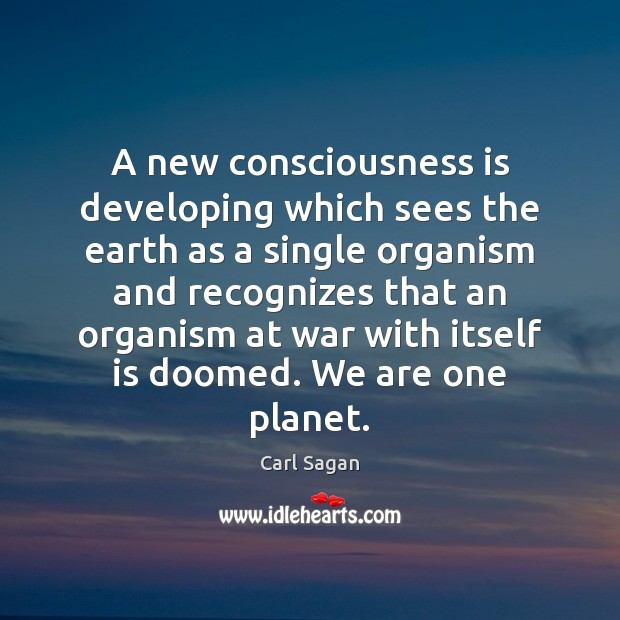 A new consciousness is developing which sees the earth as a single Image