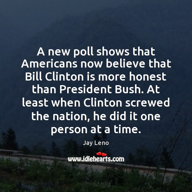 A new poll shows that Americans now believe that Bill Clinton is Jay Leno Picture Quote
