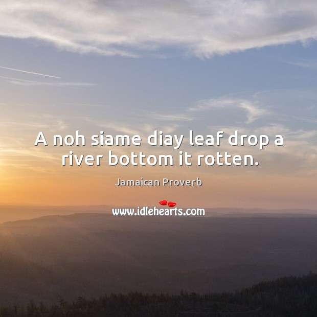 A noh siame diay leaf drop a river bottom it rotten. Jamaican Proverbs Image