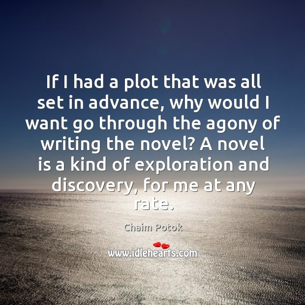 A novel is a kind of exploration and discovery, for me at any rate. Chaim Potok Picture Quote