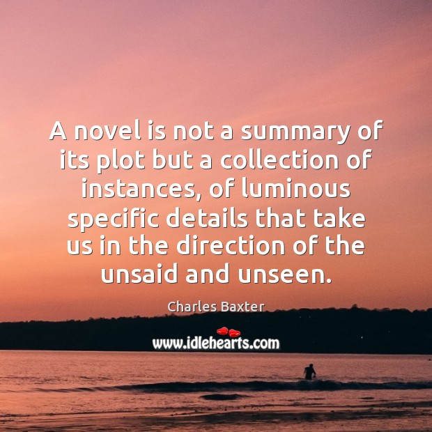 A novel is not a summary of its plot but a collection Image