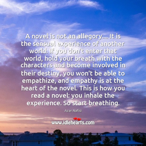 A novel is not an allegory…. It is the sensual experience of Image