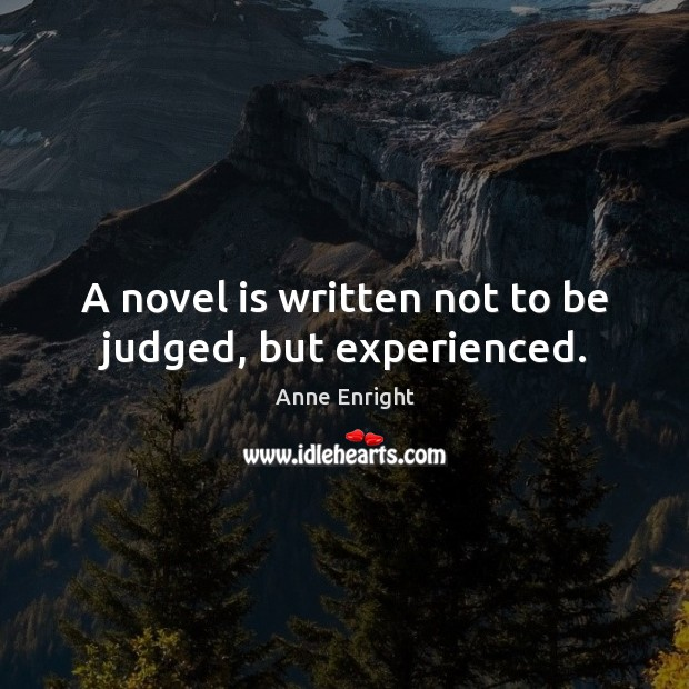 Image, A novel is written not to be judged, but experienced.