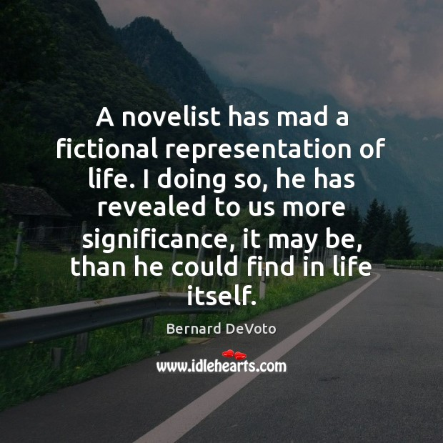 Image, A novelist has mad a fictional representation of life. I doing so,
