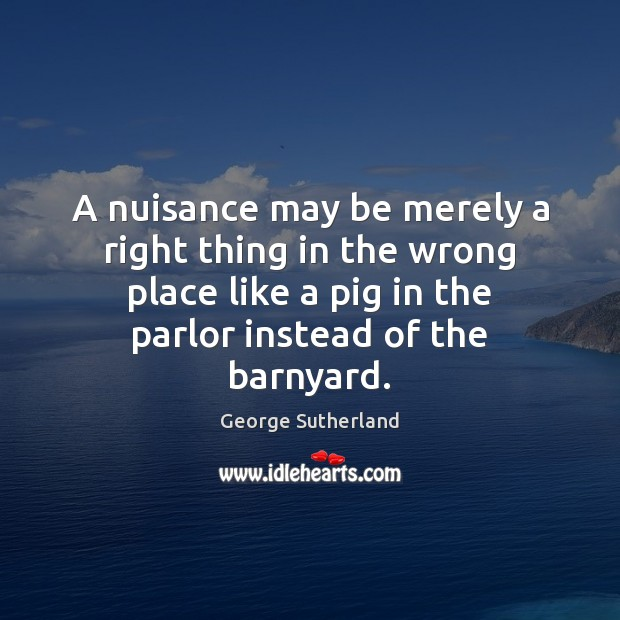 A nuisance may be merely a right thing in the wrong place Image
