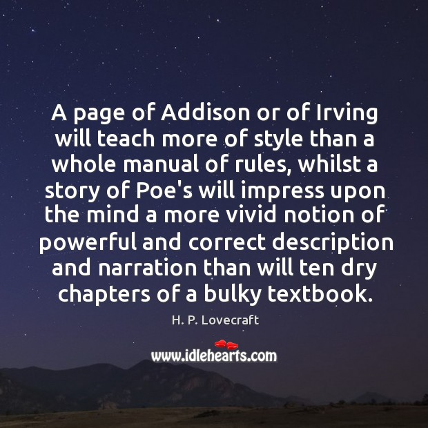 A page of Addison or of Irving will teach more of style Image