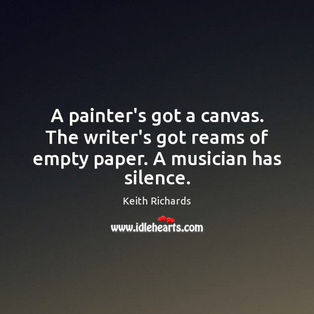 A painter's got a canvas. The writer's got reams of empty paper. A musician has silence. Image