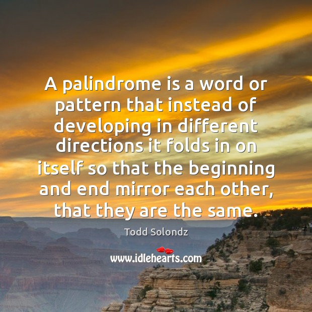 Image, A palindrome is a word or pattern that instead of developing in