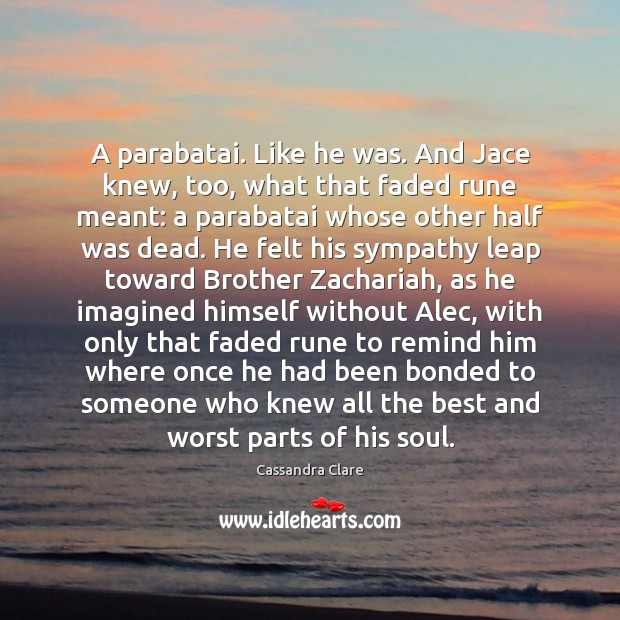A parabatai. Like he was. And Jace knew, too, what that faded Image