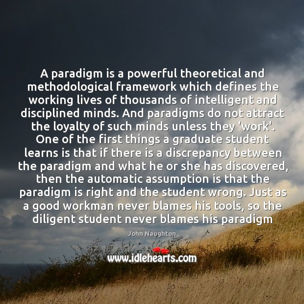 A paradigm is a powerful theoretical and methodological framework which defines the Image