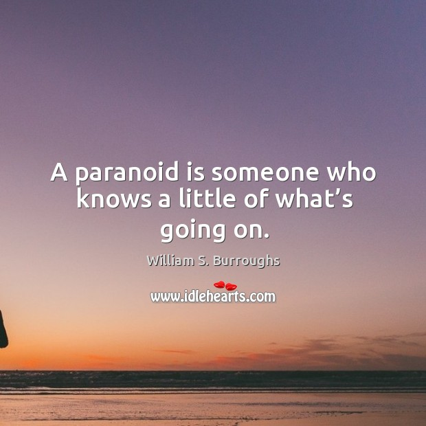 A paranoid is someone who knows a little of what's going on. Image