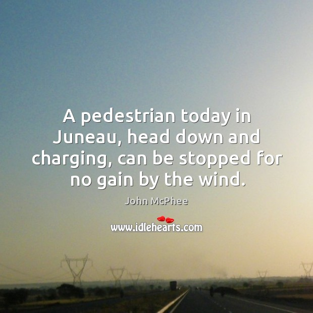A pedestrian today in juneau, head down and charging, can be stopped for no gain by the wind. Image