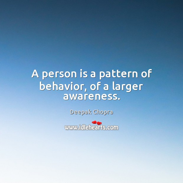 A person is a pattern of behavior, of a larger awareness. Behavior Quotes Image