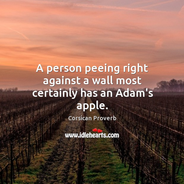 Image, A person peeing right against a wall most certainly has an adam's apple.