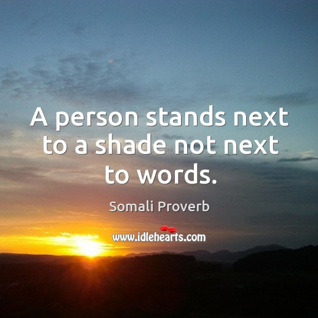 A person stands next to a shade not next to words. Somali Proverbs Image